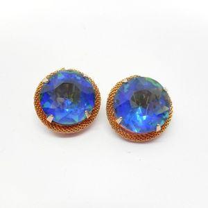 Jewelry - Vintage Gold Mesh Blue Earrings